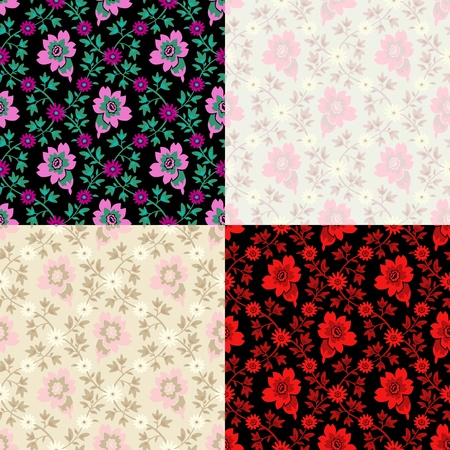 rhombus: seamless floral pattern in four color combinations