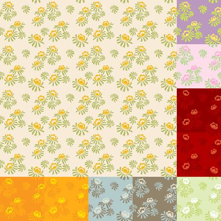 seamless  floral pattern in ten color combinations Stock Vector - 13224147