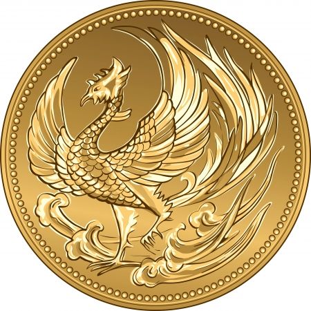phoenix bird: Japanese money, gold coin 100 000 with the image of phoenix