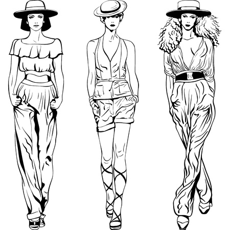 fashion sketch: black and white sketch of the beautiful young girls in trouser suits and hats isolated on white background