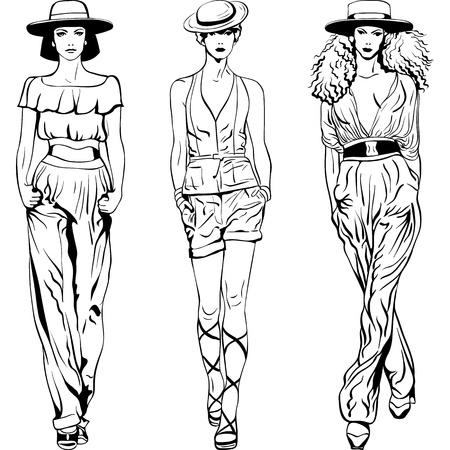 bocetos de personas: boceto en blanco y negro de las muchachas hermosas en trajes de pantal�n y sombrero aisladas sobre fondo blanco