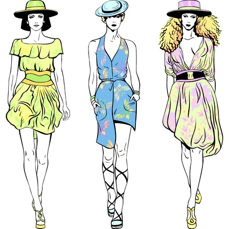abito elegante: belle ragazze in abiti estivi e cappelli isolato su sfondo bianco
