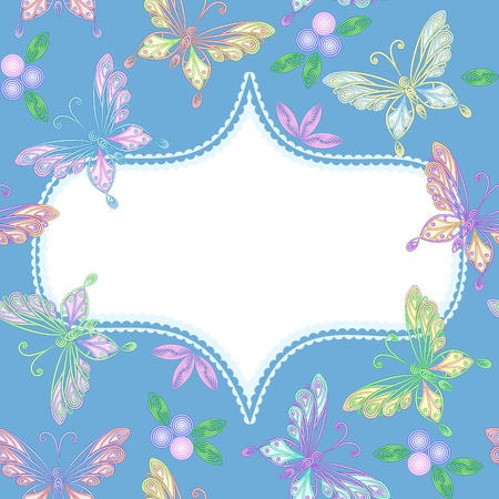 elegant floral seamless white lacy pattern with colorful butterflies and frame Vector