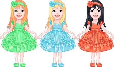 Vektor hübsches kleines Mädchen, blond, braun und brünett mit langen Haaren, schönen farbigen Kleidern