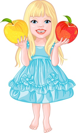 babe: Pretty babe beautiful blonde with long hair in a blue dress barefoot and apples in their hands Illustration