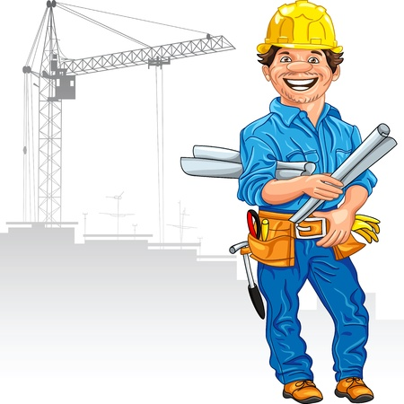 factory workers: cheerful engineer in the yellow helmet with the drawing in hand, against a background of construction