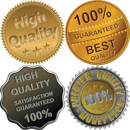 guaranteed: set of gold, silver and bronze medals for best, premium, high quality, 100 percent guaranteed, isolated on the white background