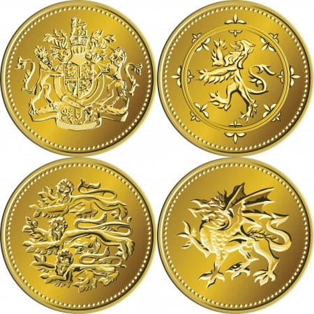 arms trade: set of the British money gold coins with the image of a heraldic lion, unicorn, shield and crown, isolated on white background Illustration