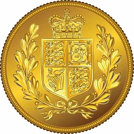 pound coin: British money gold coin Sovereign with the image of a heraldic shield and crown, isolated on white background Illustration