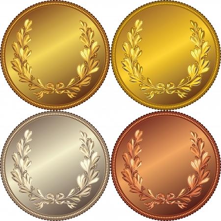 Set der Gold-, Silber- und Bronze-Medaillen mit dem Bild von einem Lorbeerkranz