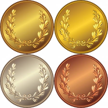 gold medal: set of the gold, silver and bronze medals with the image of a laurel wreath
