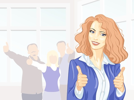 positivism: Beautiful young business woman with colleagues with thumbs up at the office smiling