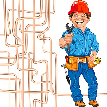 cheerful locksmith in the red helmet with the adjustable spanner in hand, against a background of copper water pipe
