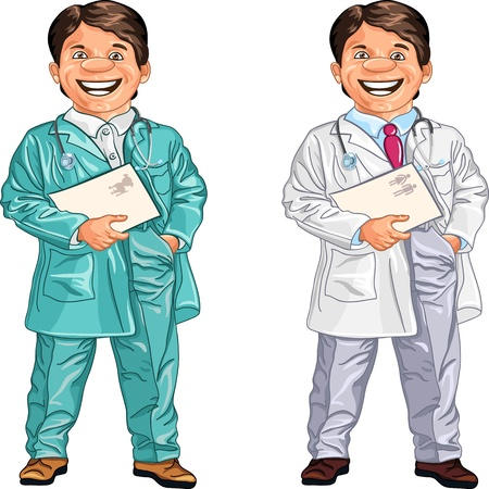 smock: set of happy doctor and a veterinarian with a folder and a stethoscope in white and green gown smiling, isolated on green background