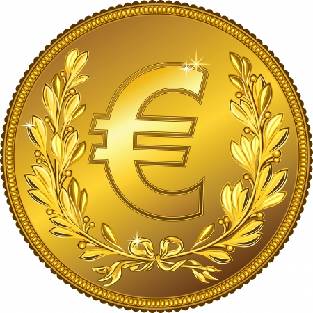 gold Money euro coin with a laurel wreath
