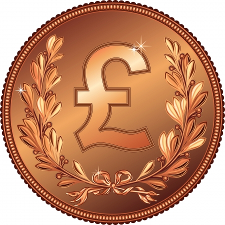 copper coin: gold Money Pound coin with a laurel wreath
