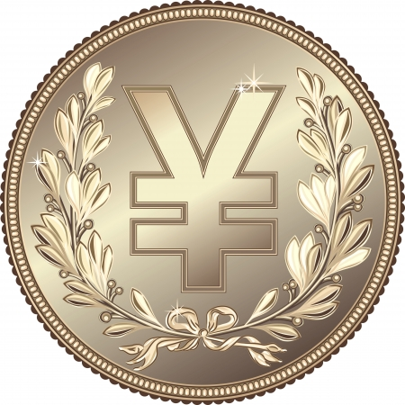 japanese currency: silver Money Yuan or Yen coin with a laurel wreath Illustration