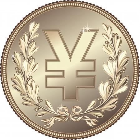 yen: silver Money Yuan or Yen coin with a laurel wreath Illustration