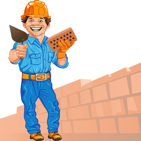 bricklayer: cheerful mason in the orange helmet with brick and trowel in hand, against a background of brick wall