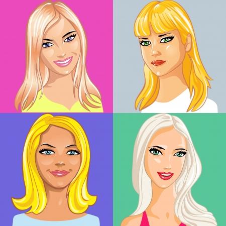 ensemble de portrait de belle jeune fille aux longs cheveux blonds Vecteurs