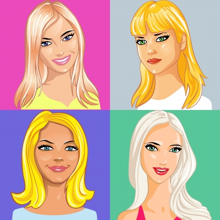 set of portrait of young attractive girl with long blonde hair Vector
