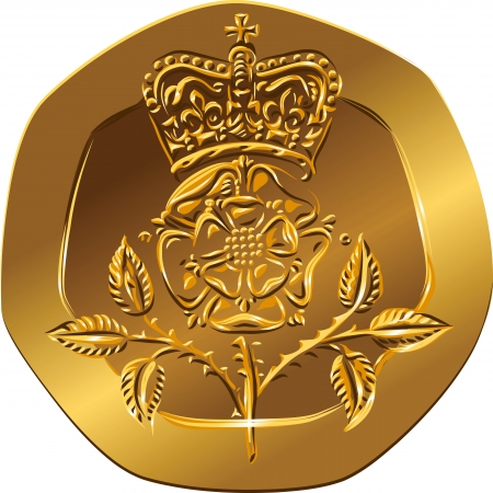 reverse: British money gold coin Reverse twenty pences with the image of Crowned rose flower (Rosa Tudor - the emblem of England)