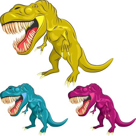 yellow, blue, magenta Tyrannosaurus is  in a threatening posture with sharp teeth and claws Vector