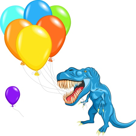 blue happy Tyrannosaurus with sharp teeth and claws with multi-colored balloons