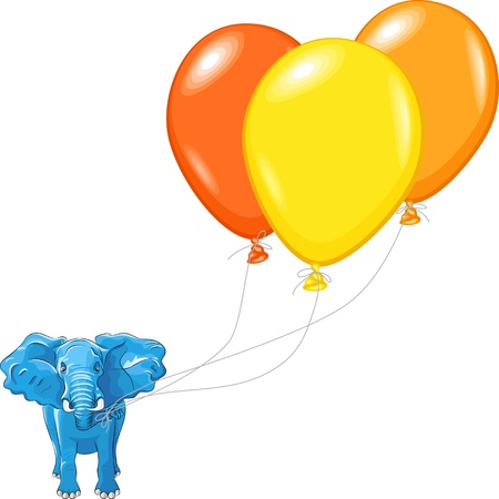 happy huge African elephant with multi-colored balloons isolated on white background Stock Vector - 14250347