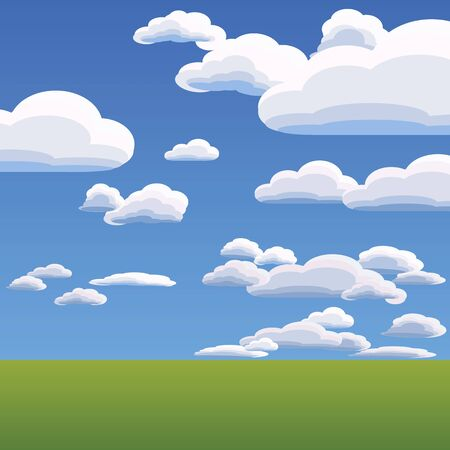 vast: summer landscape with heavenly clouds against the blue bright sky Illustration