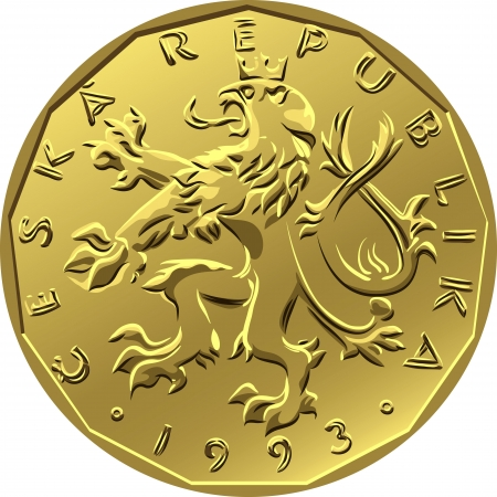 crowned: gold Money twenty czech crones coin with crowned heraldic lion