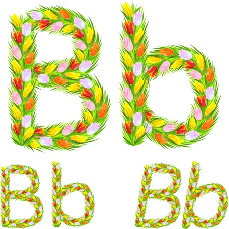 italic: font type letter B made from flower tulip with a different typeface: italic, bold, regular Illustration