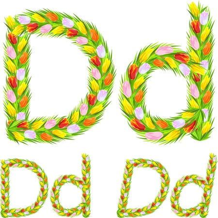 tulips in green grass: font type letter D made from flower tulip with a different typeface: italic, bold, regular Illustration