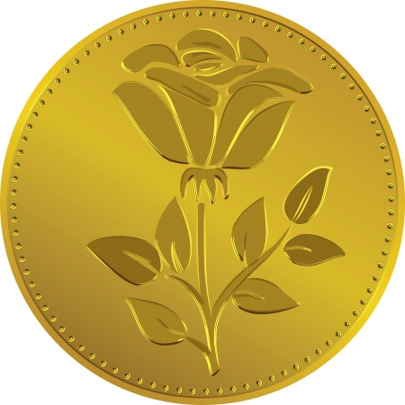 pence: British money gold coin with the image ofthe rose flower (Rosa Tudor - the emblem of England)