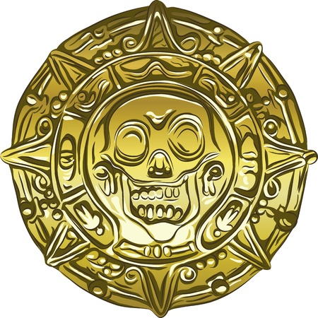 medallion: gold Money pirate coin with a skull Illustration