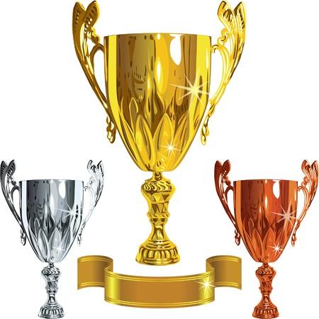 torneio: vector o jogo Winning sucesso ouro, prata, copos de bronze e ouro ribbbon Ilustra��o