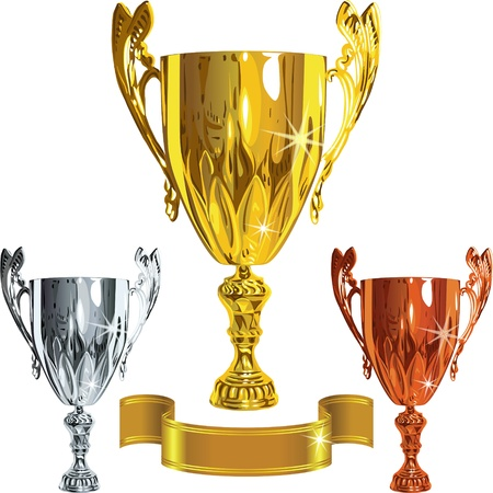 vector set Winning success gold, silver, bronze cups and gold ribbbon Illustration