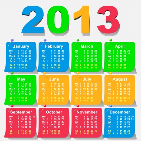 2013 calendar of the sheets, stationery pins attached in bright colors - week starts with monday Illustration