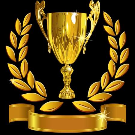 reconocimiento: conjunto ganador taza �xito oro, corona de laurel y una cinta brillante sobre un fondo negro