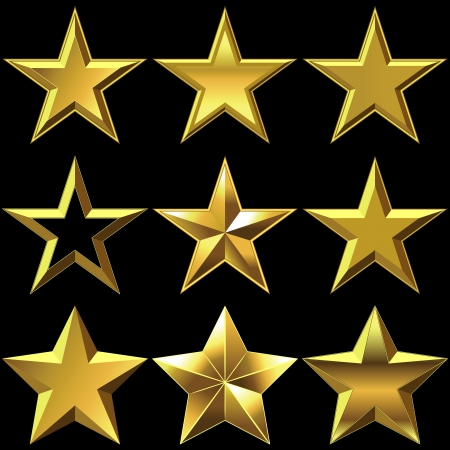 five stars: volume shiny gold five-pointed star shining Illustration