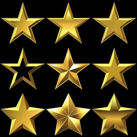 estrellas: volumen de oro brillante estrella de cinco puntas brillantes