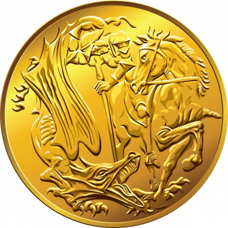 British money gold coin sovereign, with the image of St. George slaying the serpent, isolated on white background Vector