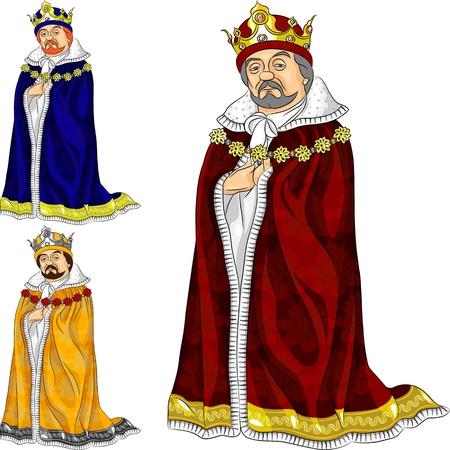 rey: conjunto de rey divertido de la historieta de cuento de hadas en trajes de ceremonia y la corona en tres colores