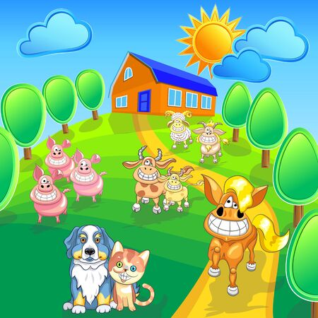 cartoon happy farm animals and pets smile on the summer field front of house. Vector