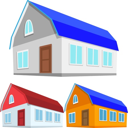three color version of the  cottage or a private home Stock Vector - 16299432