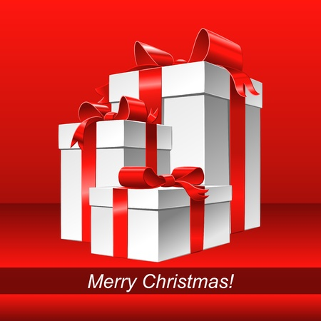 Christmas red background with white gift box and red ribbon bow Stock Vector - 16431640