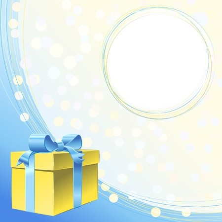 gold gift box with blue ribbon bow and frame for greeting or invitation for holiday Vector