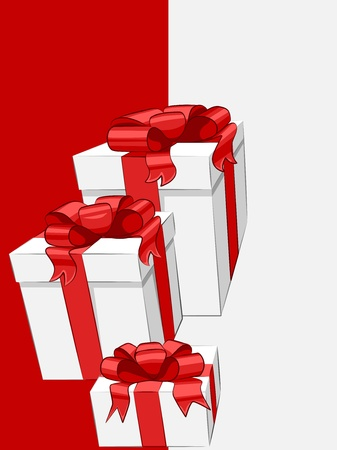 white gift box with red ribbon bow Stock Vector - 16431636