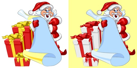 Vector Jolly Santa Claus with a scroll in his hands and Christmas gifts Stock Vector - 16493720
