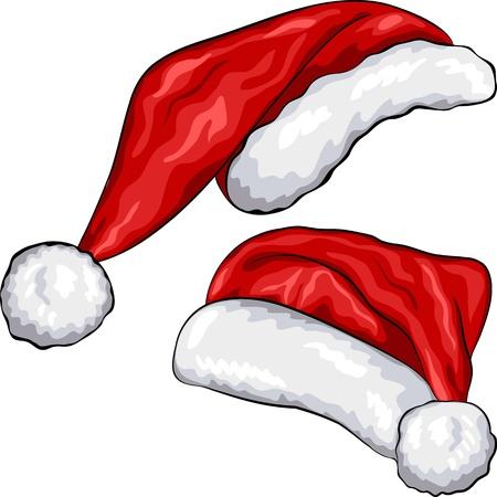 kerstmuts: rode kerst Santa Claus hoeden geïsoleerd op witte achtergrond Stock Illustratie